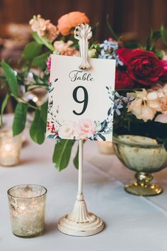 floral print table number with a shabby chic holder Edgy Wedding, Loft Wedding, Floral Wedding, Wedding Shot, Wedding Bells, Funny Wedding Photos, Vintage Wedding Photos, Vintage Weddings, Destination Wedding Decor
