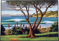 Wainui Waves, limited edition screen print by iconic New Zealand artist Tony Ogle available through Compose Art Gallery Nz Art, Art For Art Sake, New Zealand Landscape, New Zealand Art, Art Diary, Maori Art, Kiwiana, Contemporary Artwork, Contemporary Artists