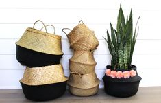 Black Dipped Seagrass Large Belly Basket is ideal for storage or used as a decorative plant holder. Inspired by Vietnamese rice baskets. Ikea Basket, Rice Plant, Vietnamese Rice, Hippie Shoes, Belly Basket, Hand Embroidery Designs, Plant Holders, Plant Decor, Home Accessories