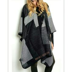 Fall's Essential ~ Color block blanket knit A beautifully draped cape with black, Grey and white color block. Easy and versatile. Jackets & Coats Capes