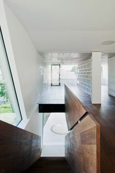 Modern Four-Story House Ready to Use: Trendy Plak Residence Upper Floor Area Interior Accessed By Dark Wooden Staircae To Lead Us Into Anoth. Beautiful Architecture, Architecture Details, Interior Architecture, Contemporary Architecture, Interior Stairs, Interior Exterior, Interior Design, Home Renovation, Stair Handrail