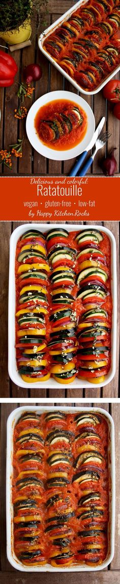 Ratatouille: delicious and spectacular vegan gluten-free dish that will be a star of any table. Healthy, flavorful, impressive looking and comforting dish. (Dairy And Gluten Free Recipes) Veggie Recipes, Whole Food Recipes, Vegetarian Recipes, Cooking Recipes, Healthy Recipes, Beef Recipes, Easy Recipes, Chicken Recipes, Vegan Foods