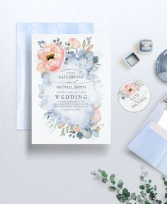 Blush pink peach flowers and dusty blue - soft pastel grey blue watercolors modern and romantic invitation suite by lovelywow. Peach Wedding Theme, Blue And Blush Wedding, Peach Wedding Invitations, White Wedding Flowers, April Wedding Colors, French Blue Wedding, Wedding Stationery, Blush Pink, Sky Blue Weddings