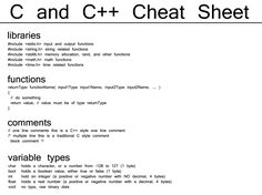 C and C++ Cheat Sheet libraries #include input and output functions #include string related functions #include memory allocation, rand, and other functions #include math functions #include time related functions functions returnType functionName( input1Type input1Name, input2Type input2Name, .... ) { // do something return value; // value must be of type returnType } comments // one line comments ...