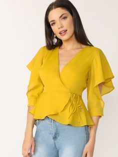Flutter Cuffed Sleeve V-Neck Wrap Blouse Flutter Cuffed Sleeve V-Neck Wrap Blouse SheIn informs you on the latest fashion trends and brings you the hottest [. Cute Blouses, Blouses For Women, Shein Dress, Sleeves Designs For Dresses, Casual Outfits, Fashion Outfits, Fashion Blouses, Wrap Blouse, Shirts & Tops