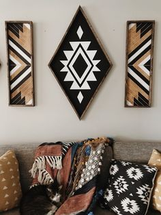 XL Aztec Diamond - - - 41 x - black and white chalk paint - dark stained wood frame - sawtooth hanger on the back for easy hanging.