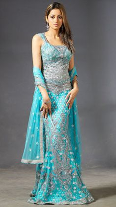 Mermaid Style Sea Blue Saree