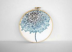 Embroidery Hoop with Teal & Turquoise Gradation - Abstract Flower - 6 inch Hoop Fiber Art