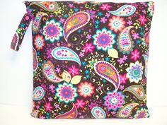 Large Wet Bag - 17 X 17  Paisley Spree by American Country Designs