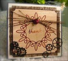 By Bibiana: Inlay wood veneer technique using the whirligig circle die from Memory Box. Masculine and fall card