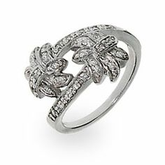This Tiffany Style Diamond CZ Palm Tree Ring will keep your mind in summer #tiffanystyle #cz #palmtrees