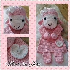 Rag doll things -- Click Visit link to see Crochet Sheep, Crochet Lovey, Crochet Baby Toys, Knit Or Crochet, Crochet Gifts, Crochet For Kids, Crochet Dolls, Baby Knitting, Amigurumi Doll