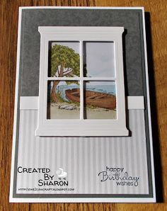 Stampin' Up Hearth and Home die this would be cute to use the Seaside Sketches stamp set or the kids stamp set Masculine Birthday Cards, Birthday Cards For Men, Masculine Cards, Card Birthday, Rena, Window Cards, Hearth And Home, Stamping Up Cards, Anniversary Cards