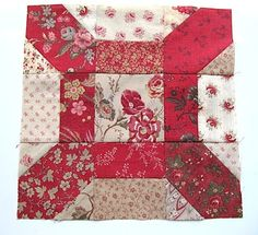 Block of the Month #2.Linoleum ...By Karen from Sew Many Ways...block will be 12.5 inches unfinished and 12 inches square when sewn into a quilt. I usually do my blocks with scrappy fabric, but you can use 2 or 3 fabrics for this block in any style.