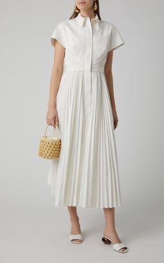 Exclusive Pleated Poplin Shirt Dress by Brandon Maxwell Edgy Dress, Casual Dresses, Fashion Dresses, Summer Dresses, Couture Fashion, Ideias Fashion, Shirt Dress, Pleated Shirt, Women Wear