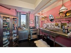 Betsey Johnson's NYC Penthouse - Kitchen (kind of small, but I love the stainless steel!)