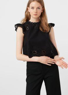 Top algodón calado - Camisas de Mujer | MANGO España