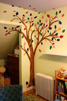 Apartment Decorating with a Pop of Color Apartment Decorating with a Pop of Color Tree Wall Painting, Simple Wall Paintings, Creative Wall Painting, Creative Wall Decor, Wall Art Designs, Wall Design, Tree Design On Wall, Diy Room Decor, Home Decor