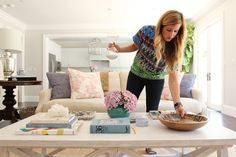 How To Style A Coffee Table by Studio McGee/ wall paint is Behr - Silver Drop