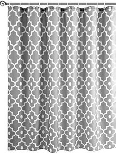 Striped Shower Curtains, Sheer Curtains, Fabric Shower Curtains, Boho Bathroom, Bathroom Curtains, Bathroom Ideas, Hookless Shower Curtain, White Shower, Open Weave