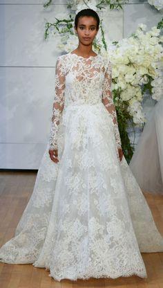 Featured Dress: Monique Lhuillier; Wedding dress idea.