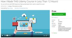How I Made THIS Udemy Course in Less Than 12 Hours! http://ift.tt/1ngf6RU  #udemy #coupon #discount