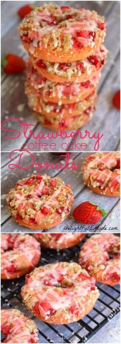 These Strawberry Coffee Cake Donuts are loaded with fresh, chopped strawberries,. These Strawberry Coffee Cake Donuts are loaded with fresh, chopped strawberries, topped with coffee cake streusel an Strawberry Coffee Cakes, Strawberry Recipes, Strawberry Breakfast, Strawberry Doughnut Recipe, Strawberry Glaze, Delicious Donuts, Yummy Food, Tasty, Donuts Beignets