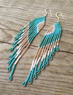 Seed Bead Earrings, Long Fringe Earrings, Beaded Earrings, Pink, White, Blue…