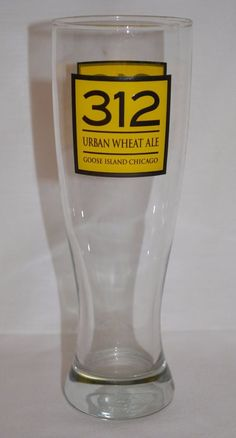 Goose Island 312 Urban Wheat Ale Beer Glass Chicago Yellow & Black #312UrbanWheatAle