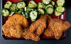 ... pickled cucumbers and shiso pork katsu with pickled cucumbers and