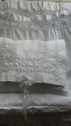 Vintage linens (1) From: Vintage Rose Brocante (2) Webpage has a Pinterest Share Button
