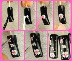 easy flower nail art Plus Cute Nail Art, Cute Nails, Pretty Nails, Flower Nail Art, Art Flowers, Pink Flowers, Wedding Nails Design, Cool Nail Designs, Nail Tutorials
