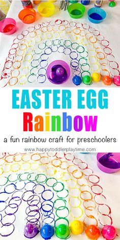 Easter Egg Rainbow Craft - HAPPY TODDLER PLAYTIME You are in the right place about Montessori Education schools Here we offer you the most beautiful pictures about Rainbow Activities, Easter Activities For Kids, Spring Crafts For Kids, Rainbow Crafts, Toddler Activities, Spring Activities, Rainbow Art, Easter Art, Easter Crafts For Kids