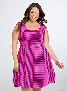 """<p>The crisscross back is just the finale on this skater dress. Textured hot pink and black stripes are quite an opening sequence to any and all evenings, while the stretchy fit and flare skirt keeps your middle from getting boring.</p><p></p><p><b>Model is 5'9"""", size 1</b></p><ul><li>Size 1 measures 40 1/2"""" from shoulder</li><li>Polyester/spandex</li><li>Wash cold, dry low</li><li>Imported plus size dress</li></ul>"""