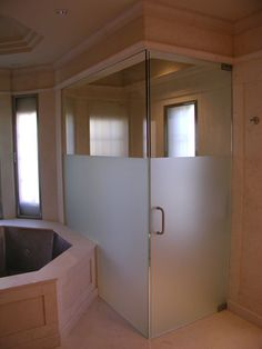 Frosted Shower Doors love the shower door-frosted glass less likely to show streaks or