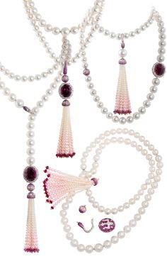 Alessio Boschi transformable necklace with South Sea pearl and an oval rubellite