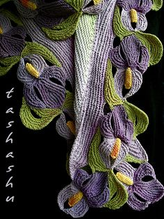 Ravelry: Scarf Suigo Sawara pattern by Svetlana GordonATTENTION: For this scarf, I have divided yarn into The technique is described on the fourth photo attached to the pattern page.It is a website for handmade creations,with free patterns for croshe Freeform Crochet, Irish Crochet, Crochet Shawl, Knit Crochet, Knitting Stitches, Hand Knitting, Knitting Patterns, Knitted Shawls, Crochet Scarves