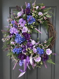 Excited to share this item from my shop: Large Purple Hydrangea, Rose and Lilac wreath/Purple and Lavender wreath/Spring and Summer wreath/Everyday Purple wreath/ Purple Wreath, Lavender Wreath, Hydrangea Wreath, Lavender Roses, Purple Roses, Floral Wreath, Wreath Crafts, Diy Wreath, Wreath Making