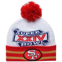 New Era San Francisco Super Bowl XXIV Commemorative Super Wide Point Knit  Beanie - White Scarlet Gold 38f570d79