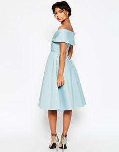 Obrázek 2 z ASOS Premium Scuba Off rameni Midi šaty