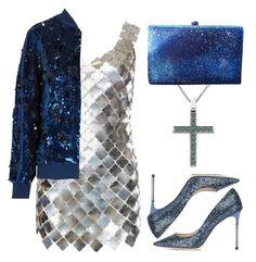 """Anastazio-metallic dress"" by anastazio-kotsopoulos ❤ liked on Polyvore featuring Paco Rabanne, Jimmy Choo, Anastazio, Ashish and Anthropologie"