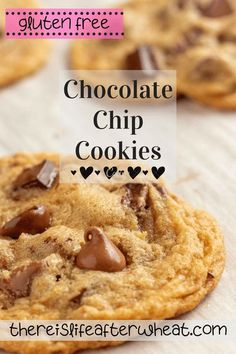 """Crisp on the outside and chewy in the middle with no hint of grittiness, these gluten free chocolate chip cookies don't taste """"gluten free"""" at all! Best Gluten Free Desserts, Gluten Free Sugar Cookies, Gluten Free Biscuits, Gluten Free Chocolate Chip Cookies, Best Chocolate Chip Cookie, Gluten Free Treats, Chocolate Recipes, Dairy Free Options, Brownies"""