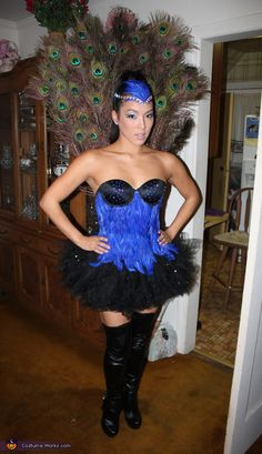 Homemade Costumes for Women Photo Gallery (page 1 of Browse our gallery of homemade costumes created by wonderful people, who entered our online costume contest over the past years. Peacock Halloween Costume, Halloween Costumes Pictures, Homemade Halloween Costumes, Holiday Costumes, Halloween Costume Contest, Creative Halloween Costumes, Cool Costumes, Costume Ideas, Halloween Ideas