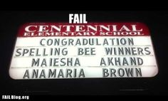 Spelling Bee Fail - neither Maiesha nor Anamaria wrote this sign..,.