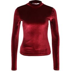 Nly Trend Velvet Polo Top (£28) ❤ liked on Polyvore featuring tops, red long sleeve top, red top, long sleeve turtleneck, mock turtle neck tops and polo tops