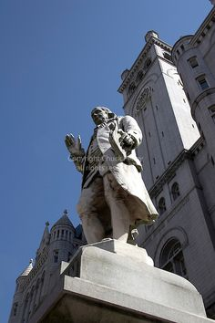 Benjamin Franklin statue in front of the Old Post Office Building in Washington DC USA   Chuck Pefley Photography