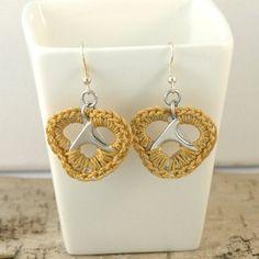 rosa gold heart earrings  pair crochet pop tabs by tabsolute, $10.00