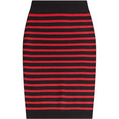 Marc by Marc Jacobs Striped Merino Wool Skirt (£98) ❤ liked on Polyvore featuring skirts, stripes, merino wool skirt, stripe skirts, striped skirt, red stripe skirt and merino skirt