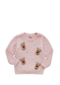 Clothing at Tesco   F&F Reindeer Eyelash Knit Christmas Jumper > knitwear > Kids' Christmas jumpers > Christmas