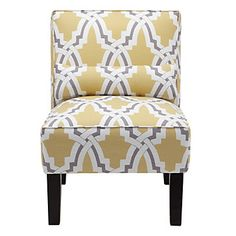 A Contemporary Chic Yellow And Grey Linx Pattern On Stylish Side Chair Bailey Accent